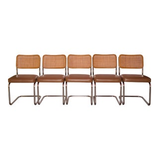 Vintage Cesca Style Cantilever Dining Chairs - Set of 5 For Sale