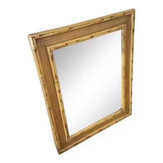 Faux Bamboo and Rattan Wall Mirror For Sale
