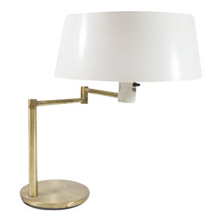 Walter Von Nessen Brass Table Lamp with Swivel Arm
