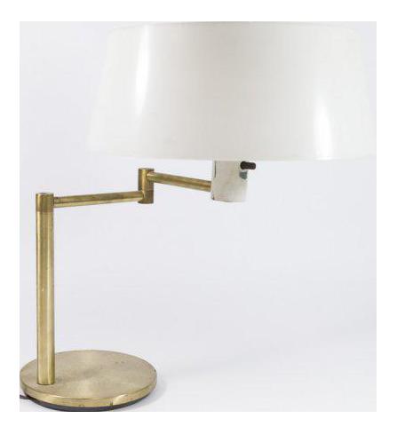 Walter Von Nessen Brass Table Lamp With Swivel Arm
