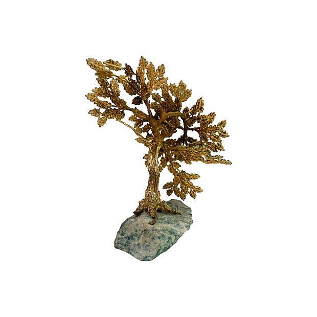 Metal and Stone Bonsai on Stone Base - Image 3 of 6