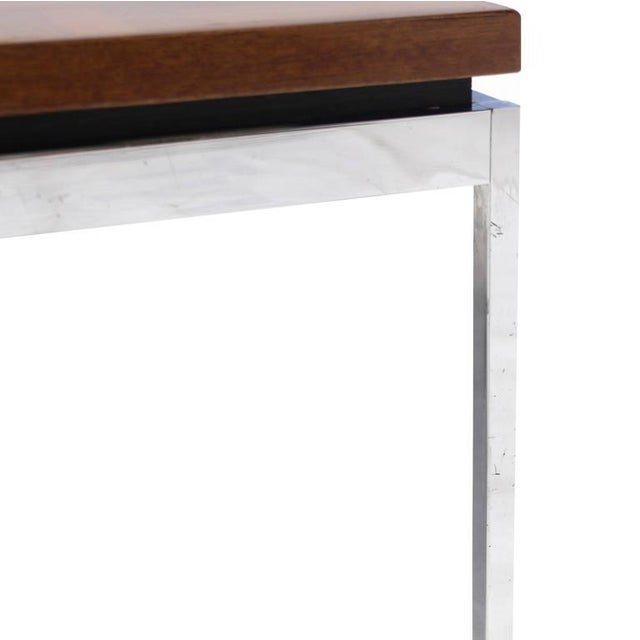 Solid Stainless Steel Heavy Base Rectangular Coffee Table with Parquet Top For Sale In New York - Image 6 of 7