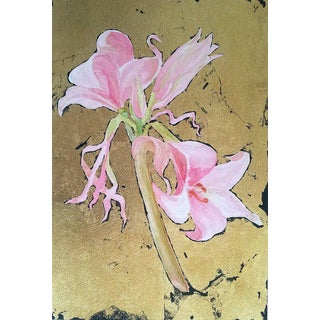 Lynne French Belladonna Lily Original Watercolor & 22 Kt Gold Leaf Painting For Sale