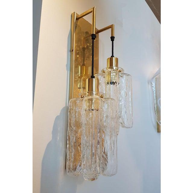 Kalmar Murano Glass Kalmar Brass Mid Century Modern 2-Lights Sconces - a pair For Sale - Image 4 of 9