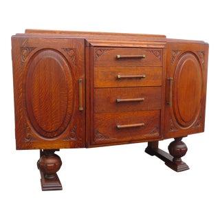 1920s English Deco Tiger Oak Server Sideboard Buffet Bathroom Vanity 2158 For Sale