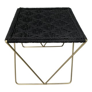 Macrame and Brass Stool - Black For Sale