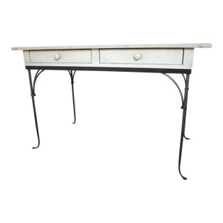 1980s Boho Chic Charleston Forge Cream Desk For Sale