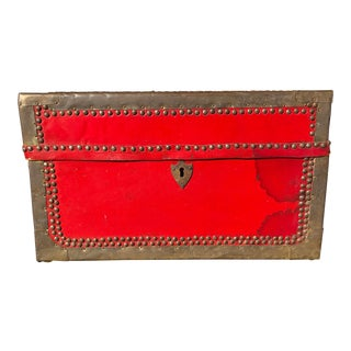 Italian Red Trunk Trimmed in Brass, Nailheads, and Leather For Sale