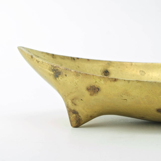 Mid-Century Modern Vintage Illums Bolighus Danish Brass Metalworks Footed Bowl Attrd. Carl Aubock For Sale - Image 3 of 10