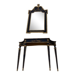 French Labarge Black Console Table & Mirror For Sale