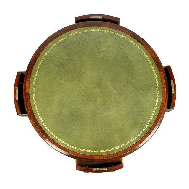 Regency Mahogany and Ebony Small Drum Table For Sale In Boston - Image 6 of 9
