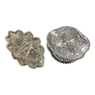 Vintage American Brilliant Cut Glass Serving Bowl and Dish - Set of 2 For Sale