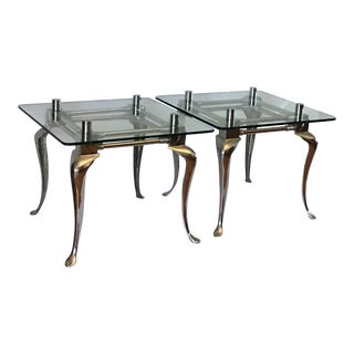 Mid-Century Modern Pace Chrome and Square Glass End Tables - a Pair For Sale