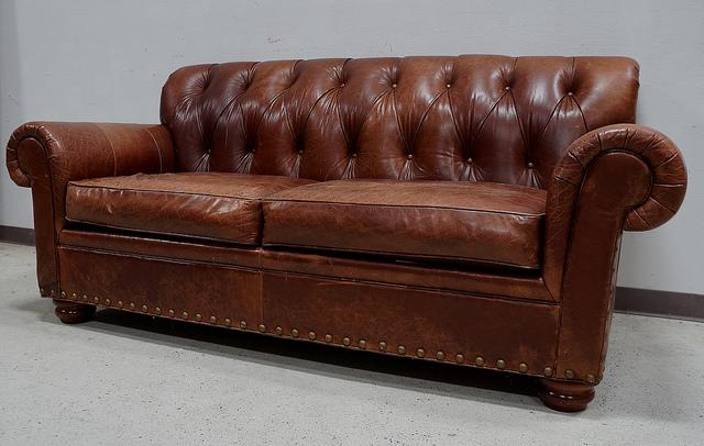 Perfect Rustic Woodmark Leather Tufted Sofa For Sale   Image 3 Of 3