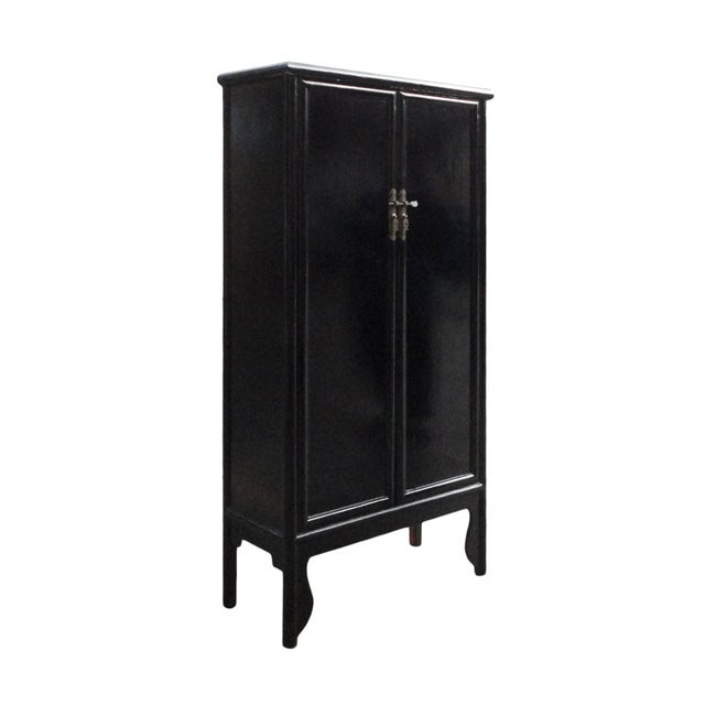 Chinese Oriental Black Lacquer Armoire - Image 2 of 5