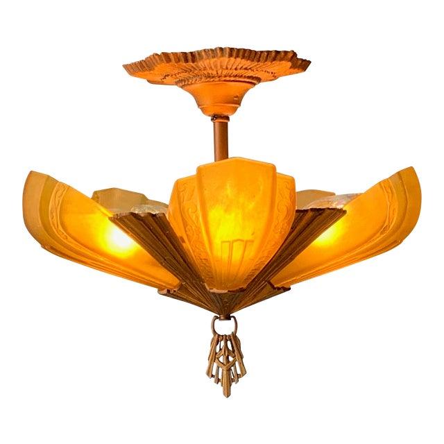 """1930s Art Deco 5 Light Virden """"Rayburn"""" Chandelier For Sale"""