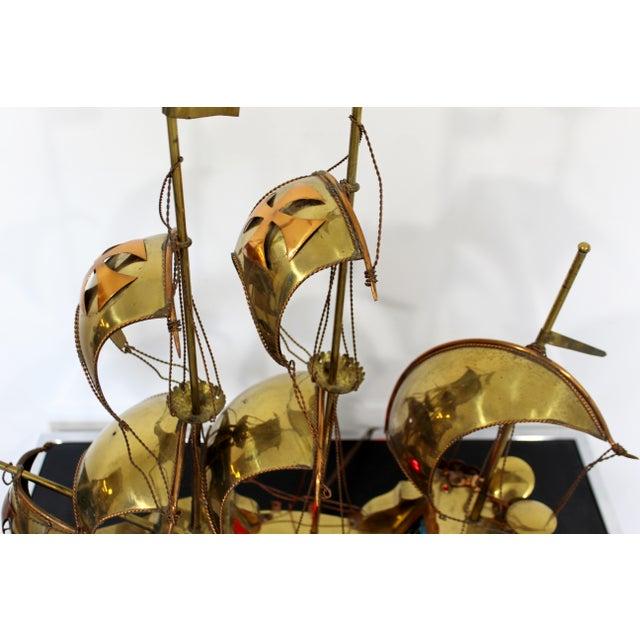 Metal Mid Century Modern Light Up Brass Copper Sailing Sculpture Bijan Jere Era 1970s For Sale - Image 7 of 9