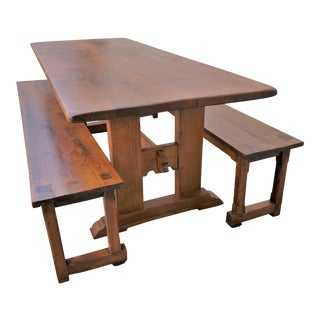 Antique Plank Solid Oak Refectory Dining Table With a Pair of Monastery Benches - 3 Pieces For Sale