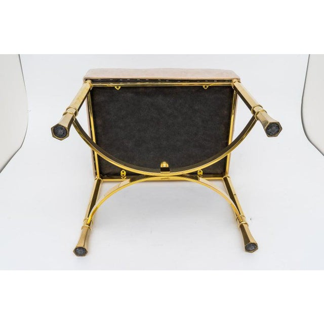 Vintage Mastercraft Benches Stools Brass and Ultrasuede - a Pair For Sale - Image 9 of 13