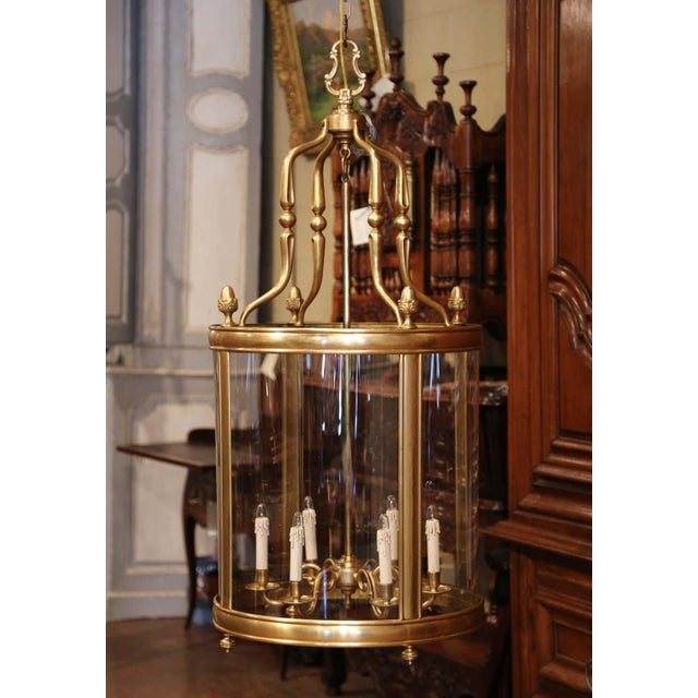 French Mid-20th Century French Six-Light Brass Lantern With Decorative Finials For Sale - Image 3 of 9