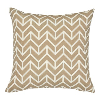 Contemporary Schumacher Chevron Indoor/Outdoor Pillow in Sand - 18ʺw × 18ʺh For Sale