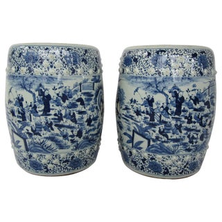 Early 20th Century Vintage Chinese Blue and White Seats- a Pair For Sale
