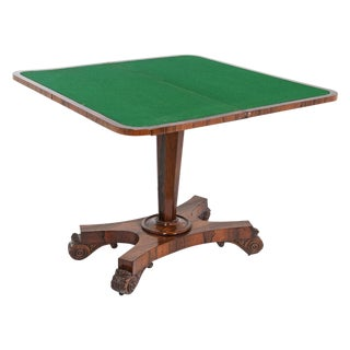 19th Century English Rosewood Pedestal Games Table For Sale