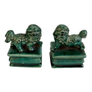 Emerald Foo Dogs - A Pair For Sale