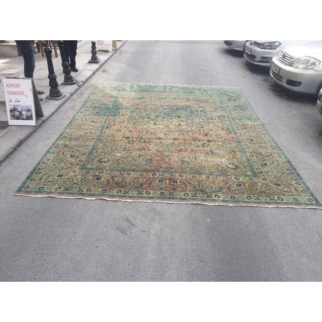 Persian Tribal Overize Handwoven Beige Floor Rug - 9′6″ × 12′5″ For Sale - Image 11 of 11
