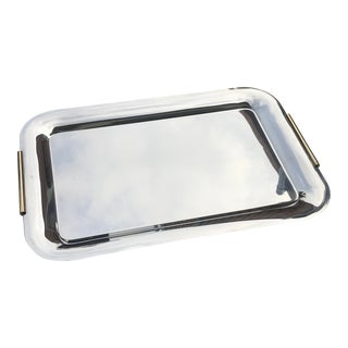 Mid-Century Stainless Steel With Brass Handle Tray by Summit Italy For Sale