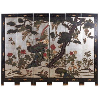 Chinese Export Six-Panel Silver Leaf Coromandel Screen For Sale