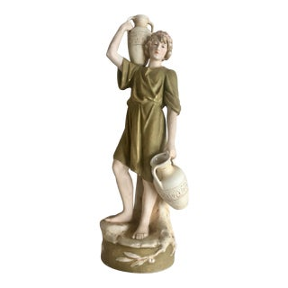 Early 20th Century Royal Dux Bohemia Carved Porcelain Figurative Sculpture For Sale
