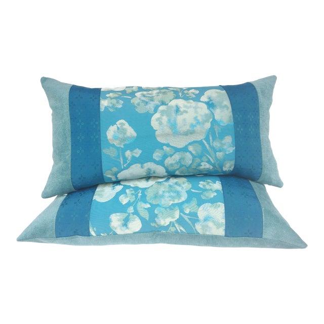 Blue Japanese Obi Pilows - A Pair - Image 1 of 4