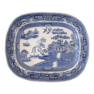Antique English Staffordshire Blue Willow Platter For Sale