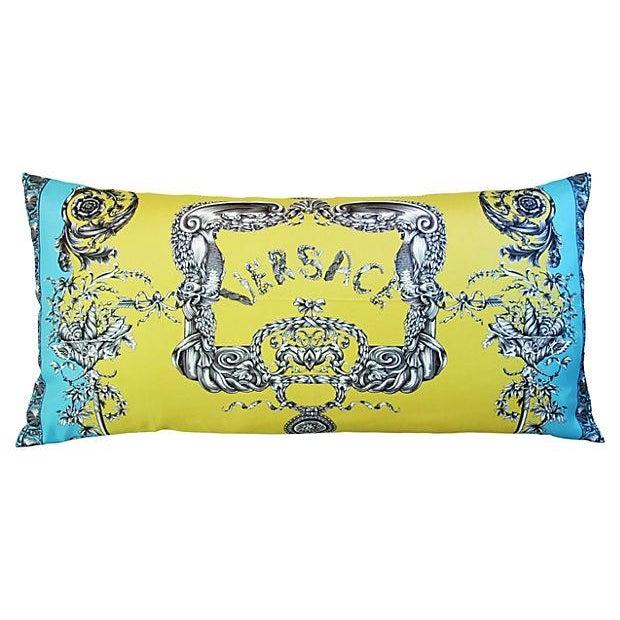Large Designer Italian Versace Silk Scarf Pillow - Image 1 of 8