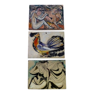 Modern Wall Plaques by Philippe Lambercy, Swiss 1950s - Set of 3 For Sale