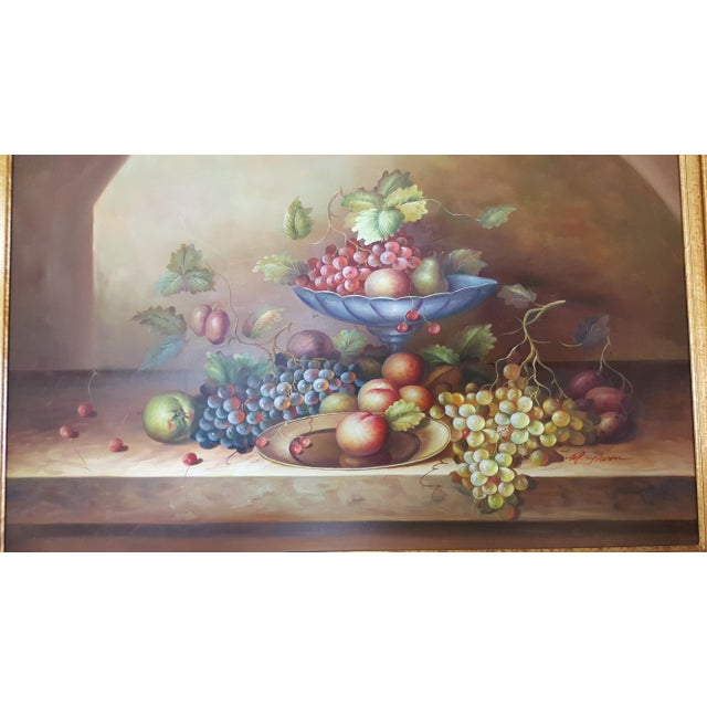 Canvas Large Still Life Oil Painting on Canvas Signed M. Aaron For Sale - Image 7 of 8