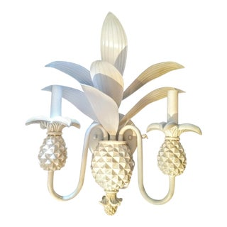 Vintage 2 Arm Pineapple Palm Frond White Gloss Wall Sconce Light Fixture For Sale