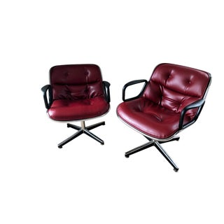 1970s Mid-Century Modern Charles Pollock for Knoll Burgundy Leatherette Executive Chairs - a Pair