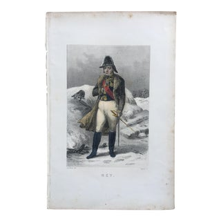 19th Century French Hand Colored Steel Engraving by Marshal Michel Ney