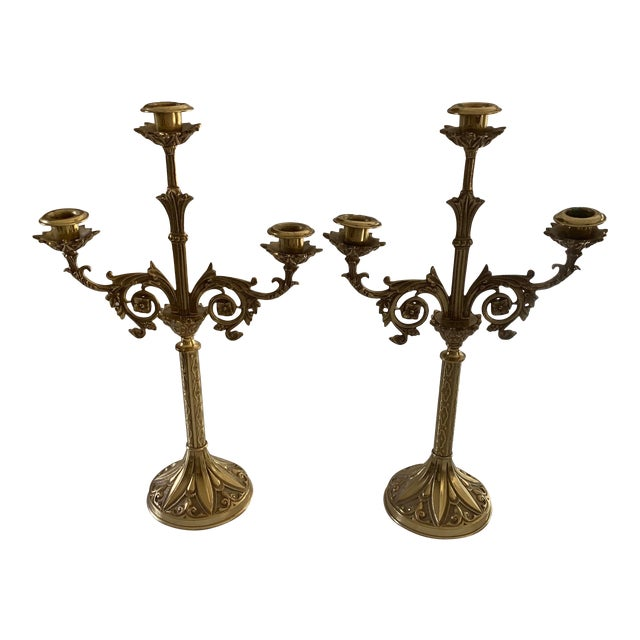 Vintage Brass Gold Candelabras - Set of 2 For Sale