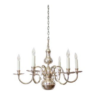 Early 20th Century Silverplate Chandelier With Down Light. For Sale
