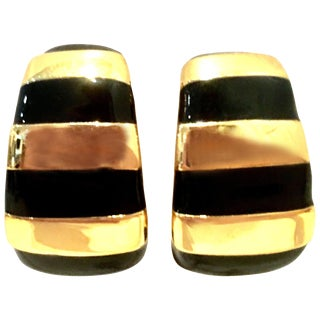 20th Century St. John Gold & Enamel Earrings - a Pair For Sale