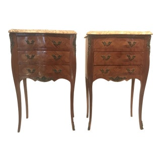 French Inlaid Marble-Top Nightstands With Three Drawers -A Pair For Sale