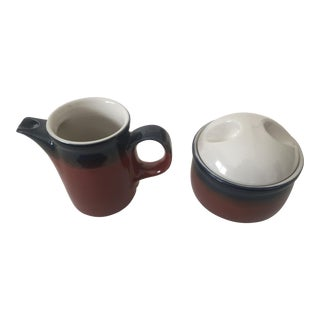 Mid-Century Modern Mikasa Japan Organic Ceramic Sugar Bowl & Creamer Set For Sale
