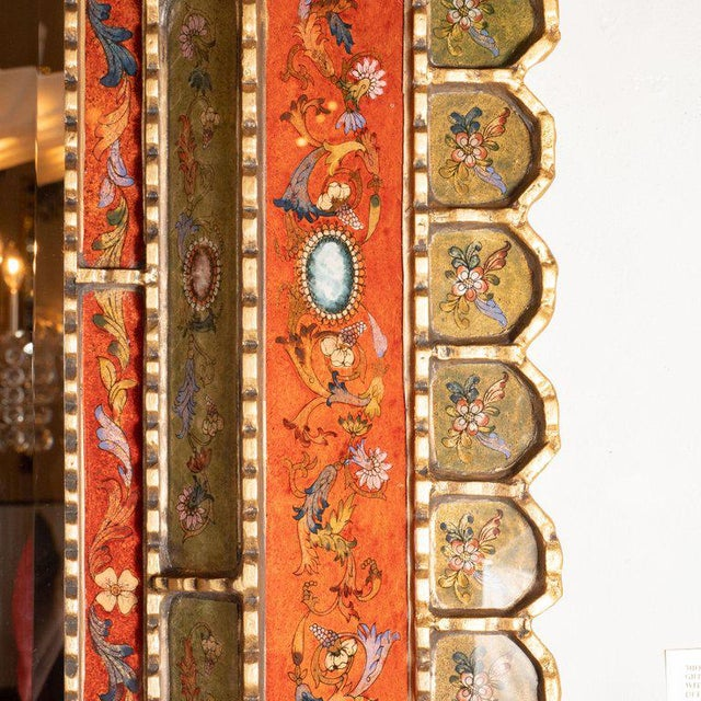 Mid-Century Modern Graphic Gilded Reverse Églomisé Hand-Painted Venetian Mirror For Sale In New York - Image 6 of 9