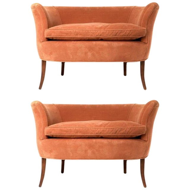 Pair of Sculptural 1940s Curved Leg French Settees or Loveseats For Sale
