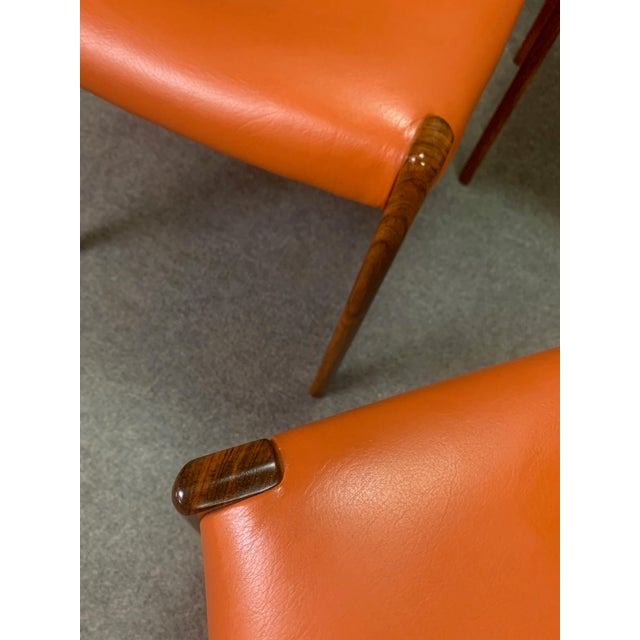 Set of Six Vintage Danish Mid Century Modern Rosewood and Leather Dining Chairs For Sale - Image 11 of 13