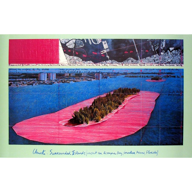 """Javacheff Christo Surrounded Islands (1982) 25"""" X 39"""" Poster 1983 Contemporary Pink, Blue, Brown For Sale"""