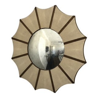 Made Goods Daniela Sunburst Convex Mirror in Vintage Faux Shagreen For Sale